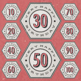Retro Vintage style Birthday greeting card collection. vector illustration