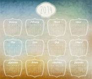Retro vintage style calendar design. Vector calendar 2014 Stock Photography