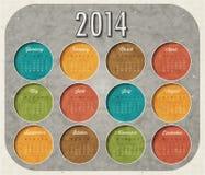 Retro vintage style calendar design. Vector calendar 2014 Stock Image