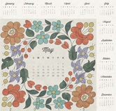 Retro vintage style calendar design. Vector calendar 2015. royalty free illustration