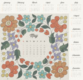 Retro vintage style calendar design. Vector calendar 2014. Hungarian traditional flowers decoration. Vintage style flower elements royalty free illustration