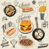 Retro Vintage Style Fast Food Designs. Royalty Free Stock Photo