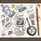 Retro vintage style fast food designs. Stock Image