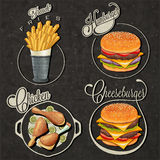 Retro vintage style fast food designs. Royalty Free Stock Images