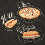 Retro vintage style fast food designs. royalty free illustration