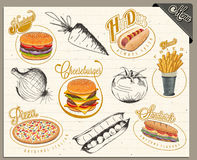 Retro vintage style fast food designs Stock Image