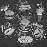 Retro vintage style fast food designs. Royalty Free Stock Photography