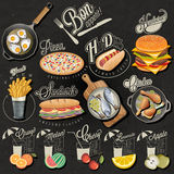 Retro vintage style fast food and drinks designs stock illustration
