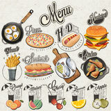 Retro vintage style fast food and drinks designs. stock illustration