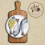 Retro vintage style Fish specialties with Cutting Board. Realistic fish and old cutting board illustration. Old fashioned pester Stock Images