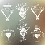 Retro vintage style foods and designs. Royalty Free Stock Image