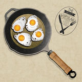 Retro vintage style Fried Frying Pan with Eggs. Stock Image
