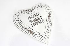 Retro vintage style heart, Home Sweet Home. A retro and vintage stylish heart, isolated on white. Home Sweet Home. Happiness at home Stock Photo