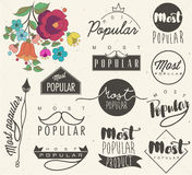 Retro vintage style Most Popular labels royalty free illustration