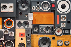 Retro vintage style Music sound speakers. Wall of retro vintage style Music sound speakers stock images