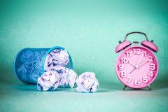Retro and vintage style of Old fashioned alarm clock and clumple Royalty Free Stock Images