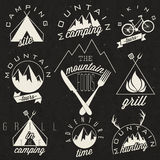 Retro vintage style symbols for Mountain Expeditio. Adventure, Mountain Camping, Mountain Hunting, Mountain Tour, Mountain Foods, Camping site, Camping Grill Stock Image