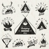 Retro vintage style symbols for Mountain Expeditio Stock Photos