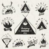 Retro vintage style symbols for Mountain Expeditio. Adventure, Mountain Camping, Mountain Hunting, Mountain Tour, Mountain Foods, Camping site, Camping Grill Stock Photos