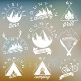 Retro vintage style symbols for Mountain Expedition. Adventure, Mountain Camping, Mountain Hunting, Mountain Tour, Mountain Foods, Camping site, Camping Grill Stock Photography