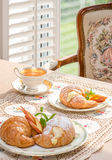 Retro / Vintage style tea room, vintage home interior, embroidery table cloth. Tea time. Stock Photo