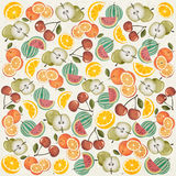Retro vintage style wallpaper with Fruits. stock illustration