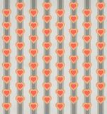 Retro and vintage styled heart and stripe pattern with muted colors green orange yellow and red. Retro and vintage styled heart and stripe pattern with muted royalty free illustration