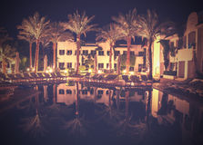 Retro vintage stylepicture of pool at night. Stock Photography