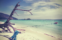 Retro vintage stylized picture of a beach. Stock Photography