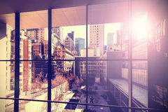 Retro vintage stylized picture of Manhattan. Retro vintage stylized picture of Manhattan with flare effect, New York City, USA Stock Photography