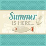 Retro vintage summer poster with sea, anchor and f Stock Images