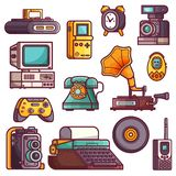 Retro and Vintage Tech Gadgets Icons. Retro tech devices icons. Multimedia electronic gadgets collection. Vintage technology icon set with old rarity elements royalty free illustration