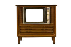 Retro Vintage television. On a white background Royalty Free Stock Photo