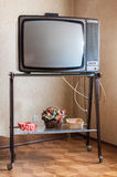 Retro vintage television. In a living-room Stock Photo