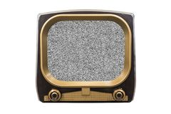 Retro Vintage Television with Static Screen. Retro 1950s television isolated on white with static screen stock photo