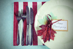 Retro vintage Thanksgiving dining table place setting Stock Photo