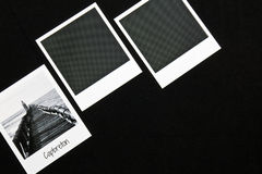 Retro vintage three instant photo frames cards on black background with a photo of capbreton breakwater in black and white Stock Photo