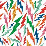 Retro vintage thunder bolt lighting ray 80 pattern Royalty Free Stock Images