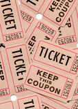 Retro vintage tickets and coupons. Real paper retro vintage tickets for movies, cinema, raffle event or performance. Background sample image Stock Photography