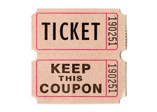 Retro vintage tickets and coupons. Real paper retro vintage tickets for movies, cinema, raffle event or performance. Background sample image Stock Photos