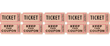 Retro vintage tickets and coupons. Real paper retro vintage tickets for movies, cinema, raffle event or performance. Background sample image Stock Images