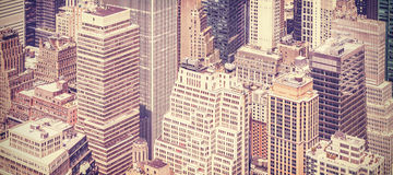 Retro vintage toned panoramic picture of Manhattan, New York. Stock Images