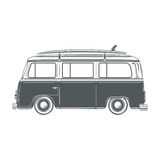 Retro, vintage, travel, camper van, with surf Stock Photo