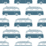 Retro vintage travel camper van with surfing board Stock Image