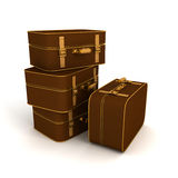 Retro vintage traveling suitcases on white background Stock Photo