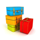 Retro vintage traveling suitcases on white background Stock Photography