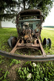 Retro vintage truck front view. Old vintage retro vintage truck out back on farm land rotting away all rusty front view Royalty Free Stock Photos