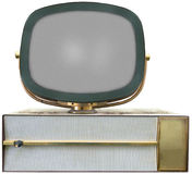 Retro Vintage TV, Television Isolated. On old retro vintage TV or television set. It`s Philco model with the tube outside the console. You can call it antique Royalty Free Stock Images