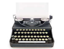 Retro vintage typewriter front view with paper Stock Photos