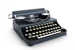 Retro vintage typewriter side view. On a white background Royalty Free Stock Images